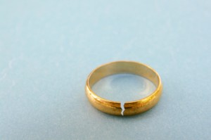 gold wedding ring with a crack in it ( divorce concept)